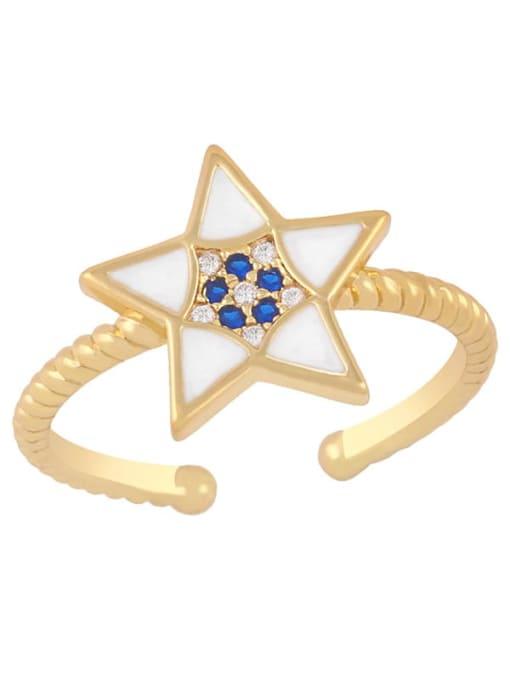 white Brass Enamel Star Minimalist Band Ring