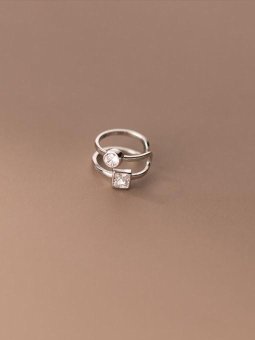 Rosh 925 Sterling Silver Rhinestone Geometric Minimalist Clip Earring 1