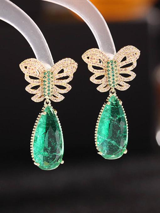 Luxu Brass Cubic Zirconia Water Drop Ethnic Drop Earring