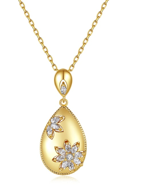 BLING SU Brass Cubic Zirconia Water Drop Vintage Necklace 0