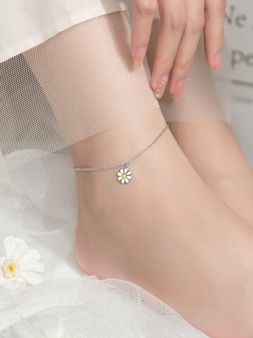 Rosh 925 Sterling Silver Enamel Flower Minimalist Anklet 1
