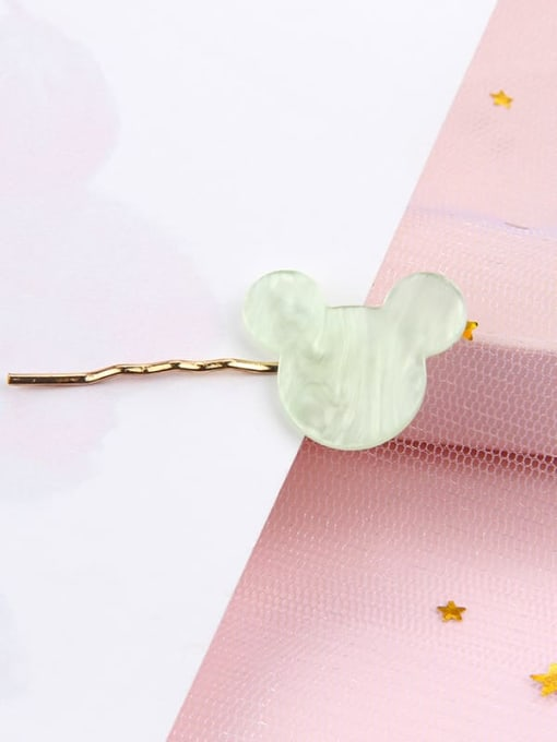 Cartoon water green Alloy Cellulose Acetate Minimalist Heart Hair Pin