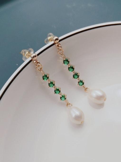 RAIN Brass Freshwater Pearl Geometric Minimalist Long Drop Earring 1