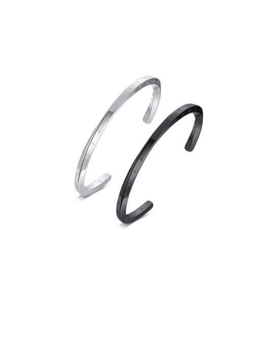 CONG Titanium Steel Geometric Minimalist Cuff Bangle 0