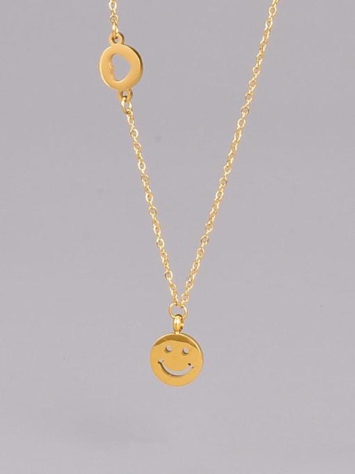 A TEEM Titanium Steel  Minimalist  Hollow Smiley  Pendant Necklace