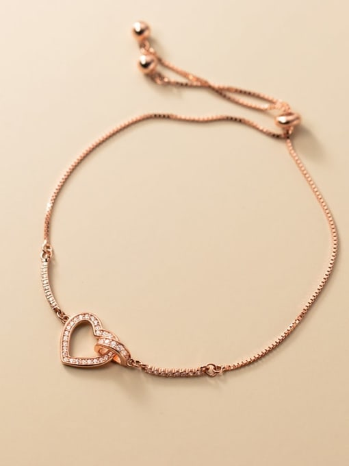 Rosh 925 Sterling Silver Cubic Zirconia Heart Minimalist Adjustable Bracelet 2