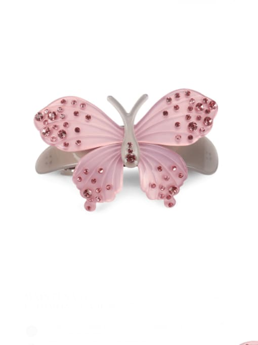 Pink Cellulose Acetate Minimalist Butterfly Zinc Alloy Spring Barrette