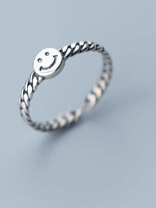 Rosh 925 Sterling Silver Face Minimalist Band Ring