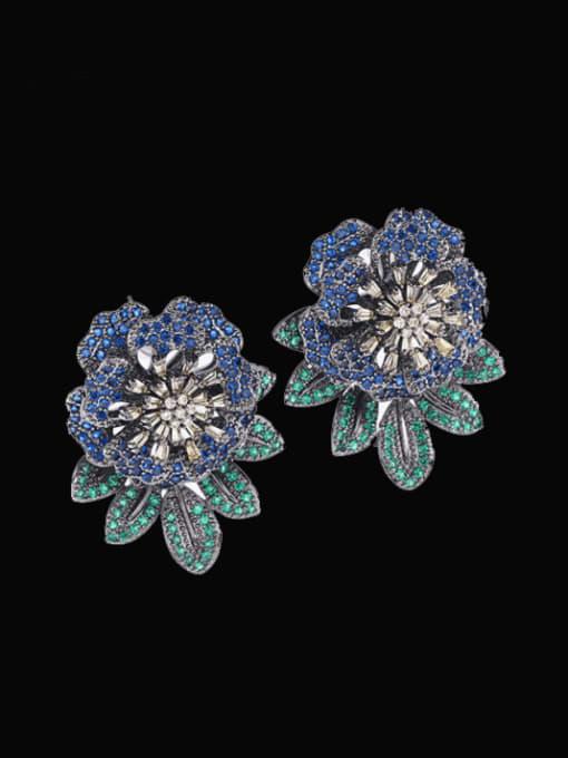 Gun black blue Brass Cubic Zirconia Flower Vintage Drop Earring