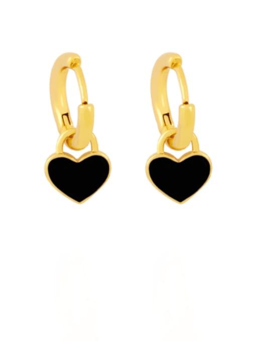 black Brass Enamel Heart Minimalist Huggie Earring