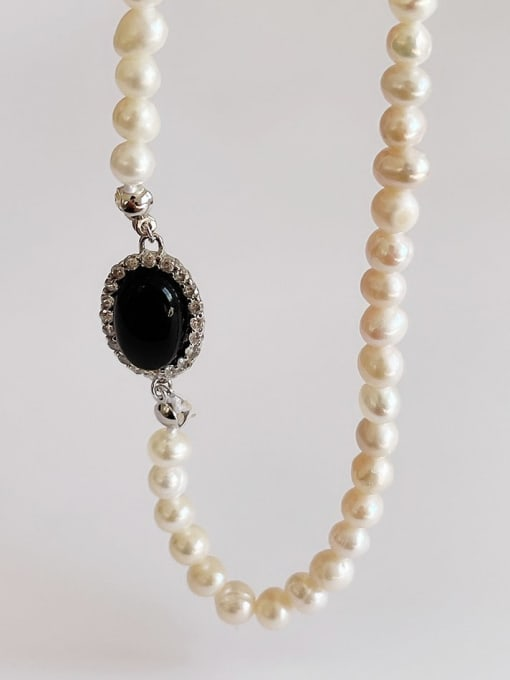 Boomer Cat 925 Sterling Silver Imitation Pearl Oval Vintage Necklace