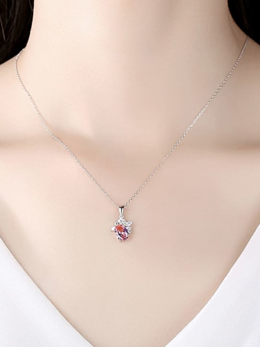 CCUI 925 Sterling Silver Cubic Zirconia Flower Minimalist Necklace 1