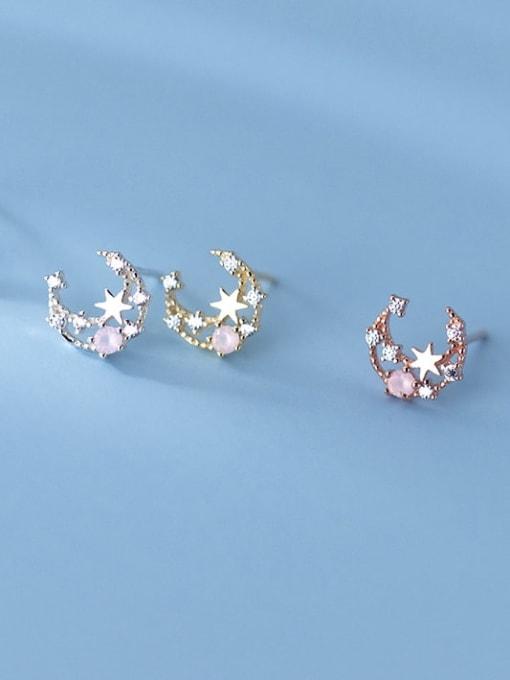 Rosh 925 Sterling Silver Cubic Zirconia Moon Cute Stud Earring 2