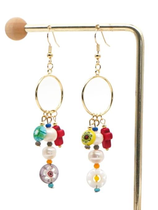 ZZ E200056H Stainless steel Freshwater Pearl Multi Color Glass beads Ethnic Long   Hook Earring