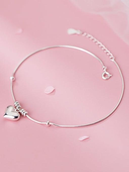 Rosh 925 Sterling Silver Heart Minimalist Link Bracelet 3