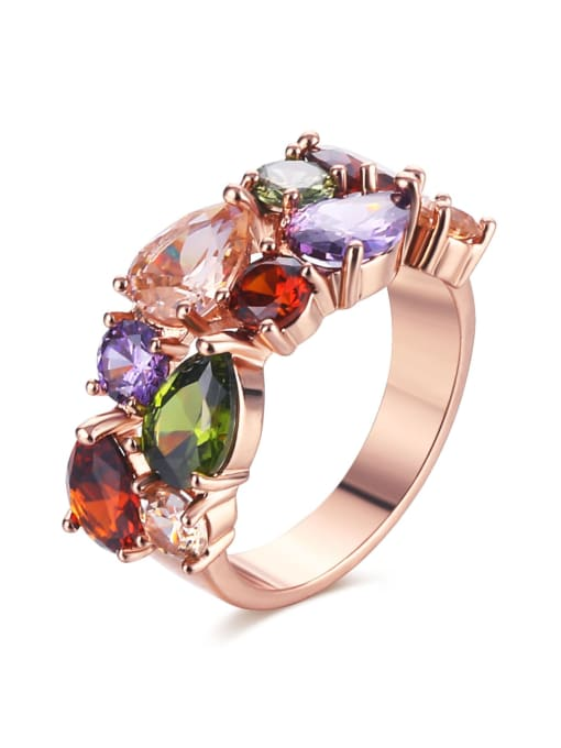rose gold Brass Cubic Zirconia Geometric Luxury Band Ring
