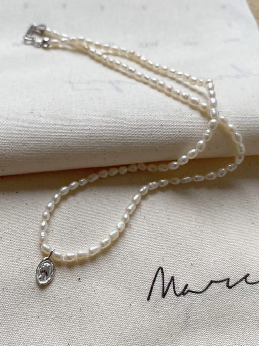 Boomer Cat 925 Sterling Silver Freshwater Pearl Geometric Minimalist Necklace 2