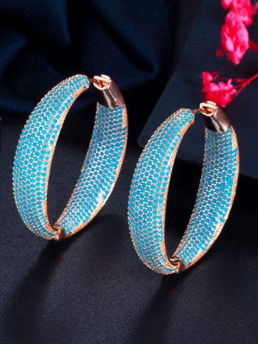 L.WIN Brass Cubic Zirconia Geometric Vintage Hoop Earring 2