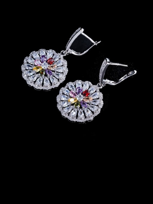 colour Brass Cubic Zirconia Geometric Luxury Cluster Earring