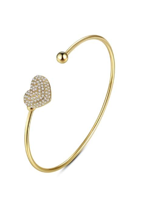 BLING SU Brass Cubic Zirconia Heart Minimalist Cuff Bangle 0