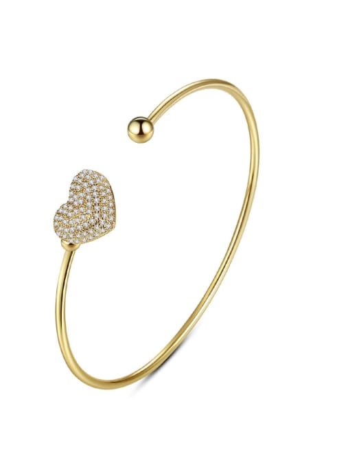 BLING SU Brass Cubic Zirconia Heart Minimalist Cuff Bangle