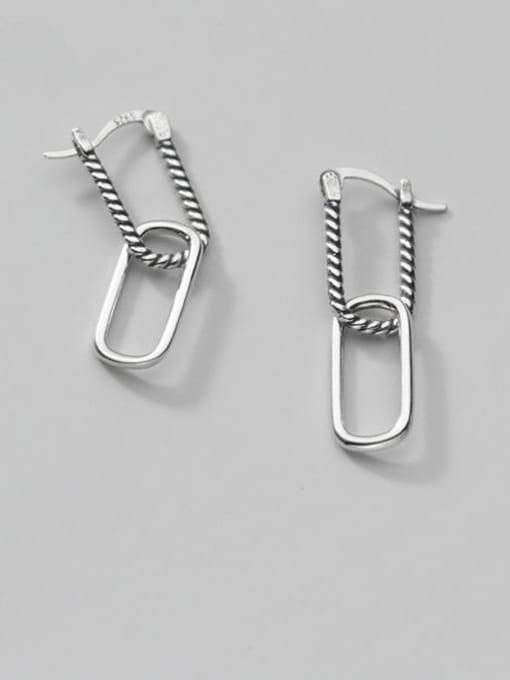 Rosh 925 Sterling Silver Hollow  Geometric Vintage Stud Earring 0