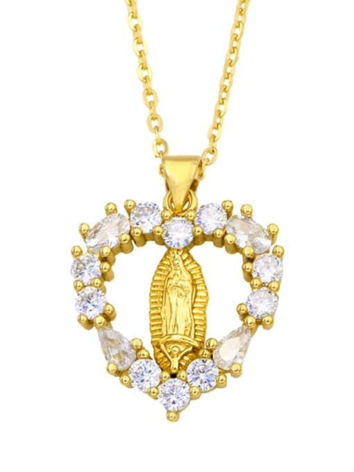 CC Brass Cubic Zirconia Heart Hip Hop Regligious Necklace 3