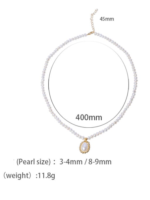 fresh water pearl Brass Freshwater Pearl Round Minimalist Necklace
