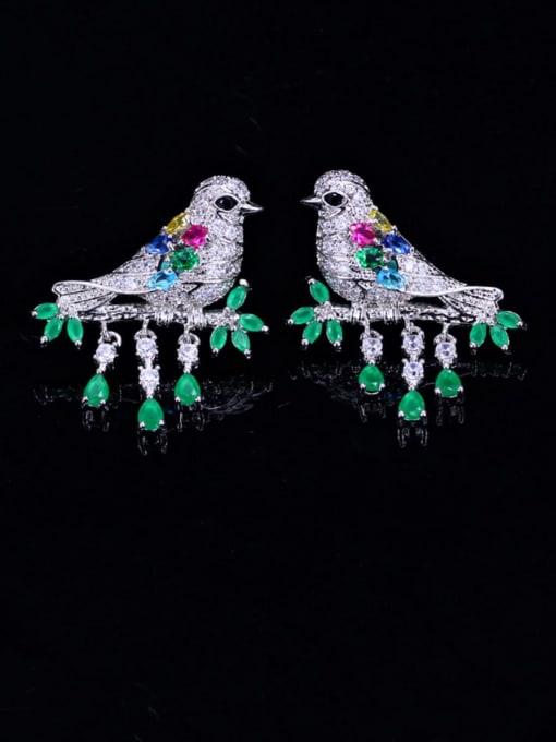 L.WIN Brass Cubic Zirconia Bird Luxury Stud Earring