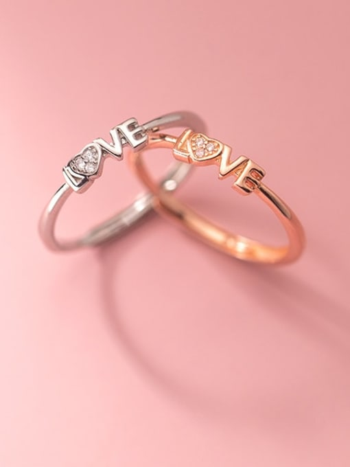 Rosh 925 Sterling Silver Cubic Zirconia Letter Minimalist Band Ring