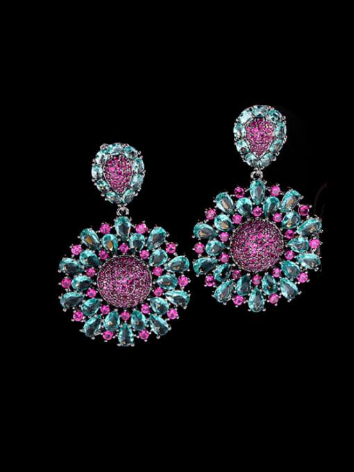 Luxu Brass Cubic Zirconia Flower Vintage Cluster Earring