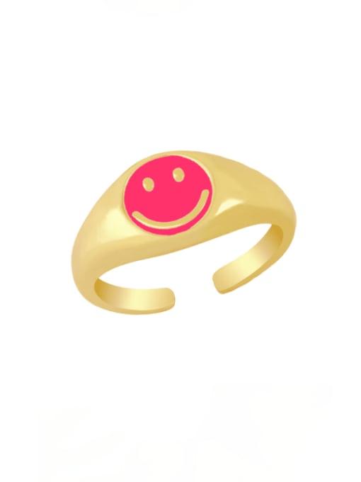 Rose red Brass Enamel Smiley Hip Hop Band Ring