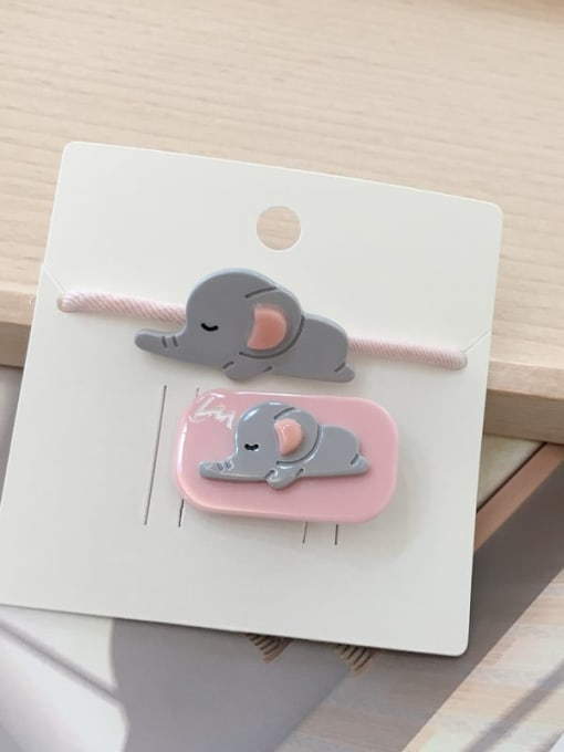 14 Pink elephant Alloy Acrylic Cute Children cartoon animal fruit Hairpin Rubber band Set