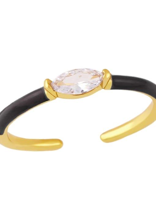 black Brass Enamel Cubic Zirconia Geometric Minimalist Band Ring