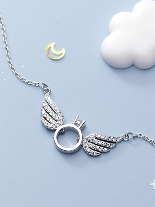 Rosh 925 Sterling Silver Rhinestone Wing Minimalist Necklace 3
