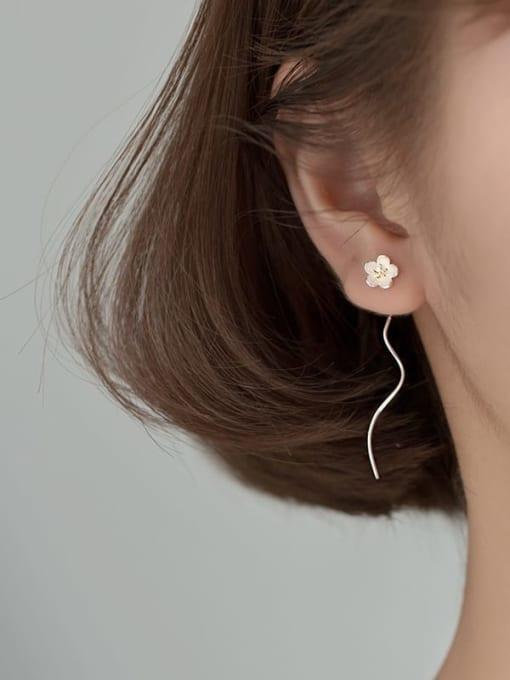 Rosh 925 Sterling Silver  Enamel Flower Minimalist Threader Earring 3