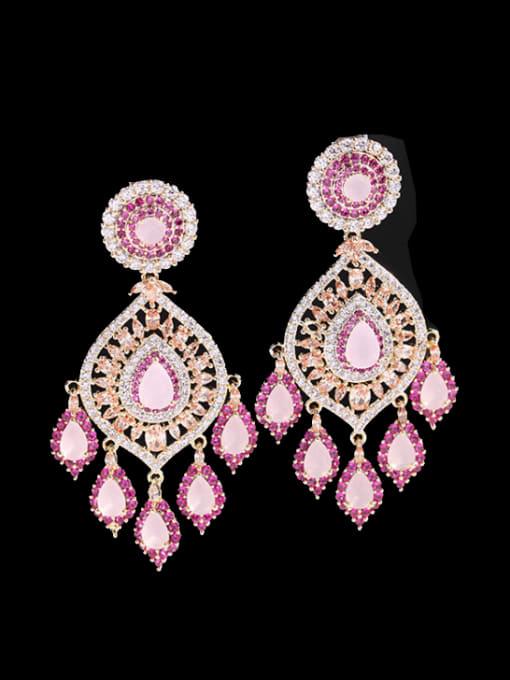 Pink Zirconium Brass Cubic Zirconia Water Drop Luxury Drop Earring