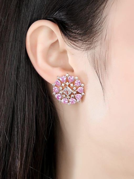 BLING SU Brass Cubic Zirconia Flower Vintage Stud Earring 1