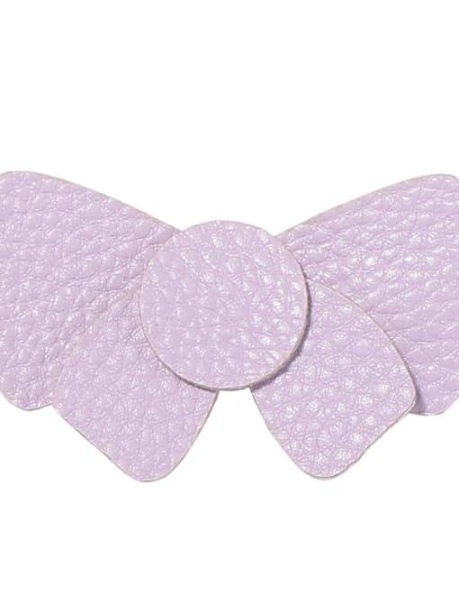 2 elegant Purple Bow Alloy Leather Cute Geometric  Multi Color Hair Barrette