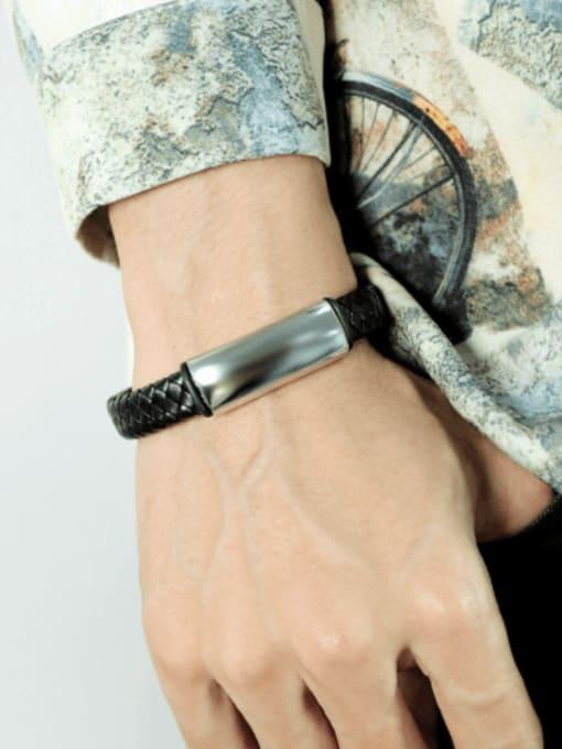 Open Sky Stainless steel Leather Geometric Hip Hop Link Bracelet 1