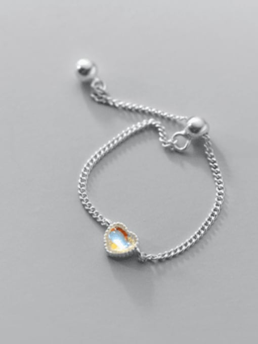 Rosh 925 Sterling Silver Glass Stone Heart Minimalist Band Ring 2