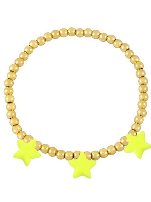 yellow Brass Enamel Star Vintage Beaded Bracelet