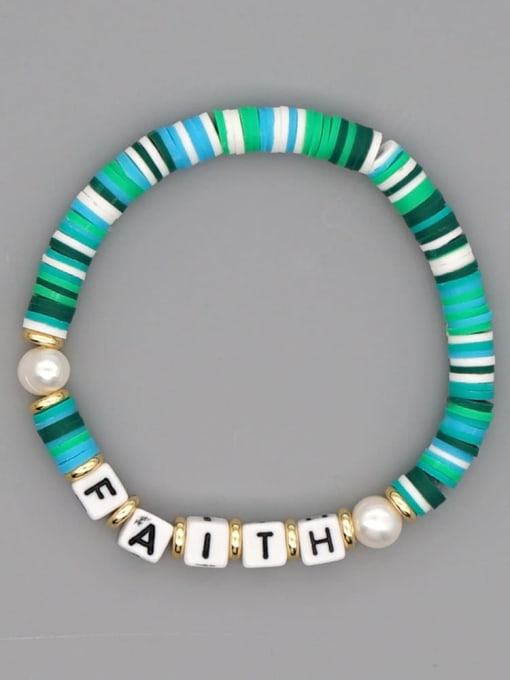 QT B200145I Stainless steel Multi Color Polymer Clay Letter Bohemia Stretch Bracelet