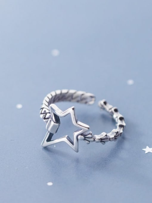Rosh 925 Sterling Silver hollow Star Vintage Band Ring