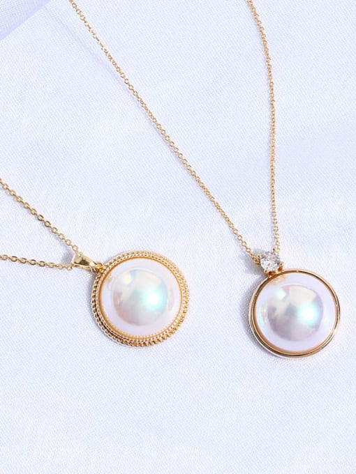 Zircon round Brass Imitation Shell Pearl Geometric Minimalist Necklace