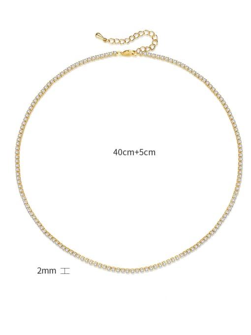 BLING SU Brass Cubic Zirconia Geometric Minimalist Necklace 4