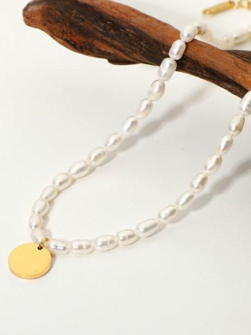 A TEEM Titanium Steel Freshwater Pearl Round Minimalist Necklace 1