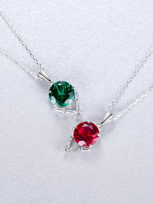 CCUI 925 Sterling Silver Cubic Zirconia Geometric Dainty Necklace 2