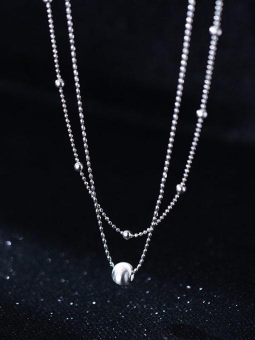 Rosh 925 Sterling Silver Bead Round Minimalist Multi Strand Necklace 2