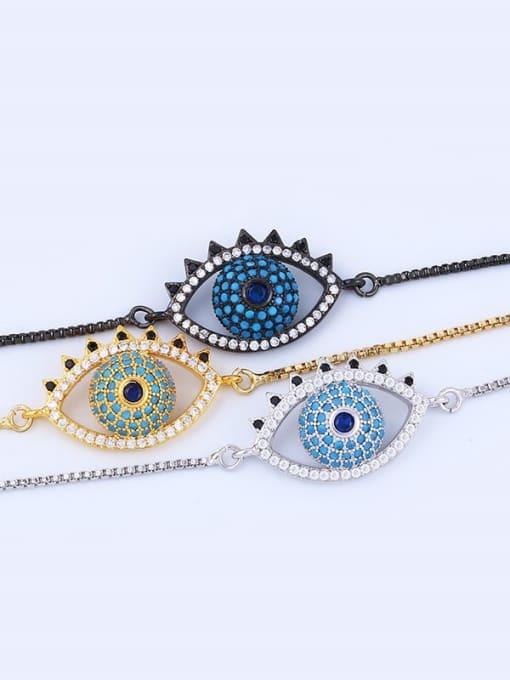 CC Brass Cubic Zirconia Evil Eye Minimalist Adjustable Bracelet 3